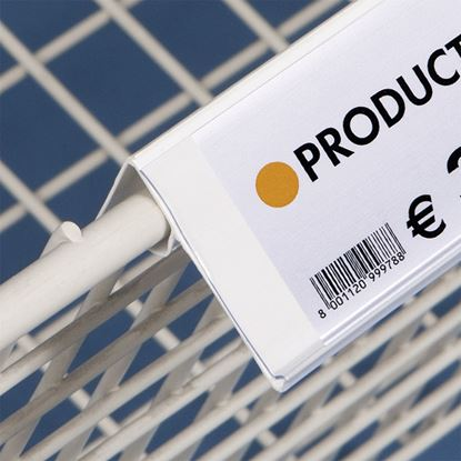 Picture of ANGLED DATASTRIP FOR ANGLED WIRE BASKETS AND EDGES - LABEL H.MAX 60 MM