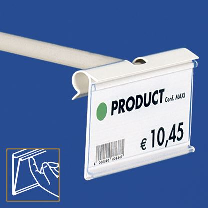 Picture of EXTRUDED LABEL HOLDER - CENTRAL CUT 8 MM - FRONT OPENING with finger hook - Label H.MAX 39 MM