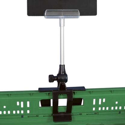 """Picture of HINGED CLAMP FOR CRATES WITH STEM AND """"ELITE"""" MESSAGE HOLDER"""