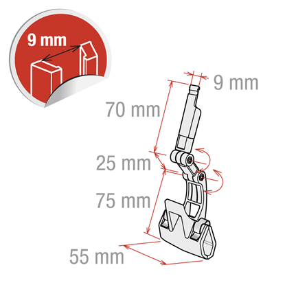 Picture of CLAMP WITH DOUBLE JUNCTIONS WITH GUIDE FOR 9 MM - standard
