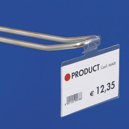 "Picture of ""ULTRA CLEAR"" FOLDED LABEL HOLDER for closed hooks- WITHOUT CENTRAL CUT"